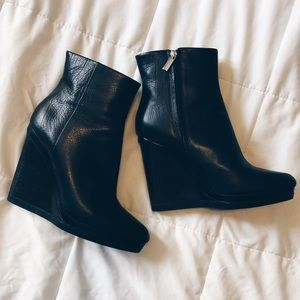 Calvin Klein Leather Wedge Ankle Boots